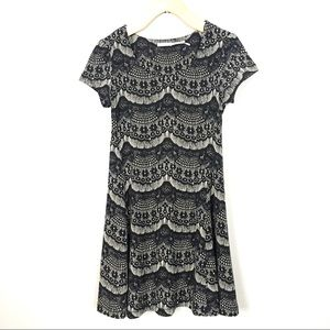 Kimchi Blue Mini Shift Dress in Eyelash Lace Print